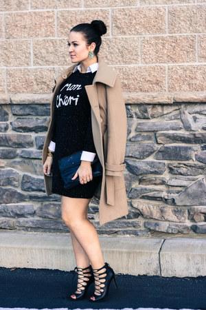 asos dress - Bebe coat - Marc Jacobs purse - Zara heels - kate spade earrings