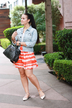 Forever 21 skirt - William Rast jacket - balenciaga purse - Valentino flats