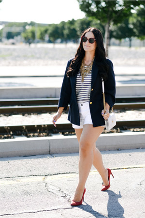 baublebar necklace - J Crew shorts - Celine sunglasses - Saint Laurent heels