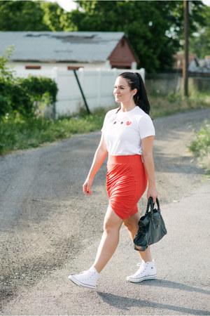 Helmut Lang skirt - Commes Des Garcon shirt - balenciaga bag - Converse sneakers