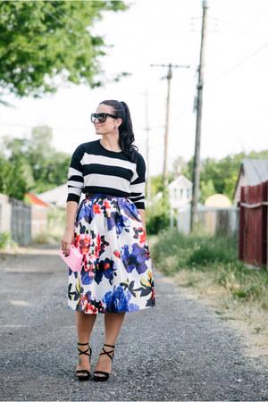 Sheinside skirt - Forever 21 sweater - Charlotte Olympia bag - grey ant glasses