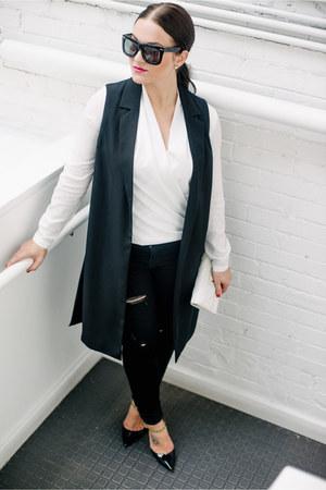 Topshop vest - grey ant glasses - blouse - Jimmy Choo heels