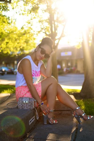Lily White skirt - project social shirt - Rebecca Minkoff bag - Zara heels