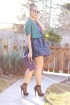 Aqua skirt - Express jacket - purple blouse Pippa blouse
