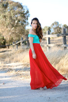 red Bebe skirt - teal teal Marciano shirt