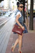 Aqua skirt - booties Christian Louboutin boots - white blouse Express blouse