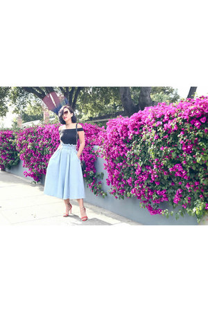 light blue H&M skirt - free people top