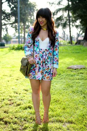 floral blazer hinge blazer - floral skirt hinge skirt - Schutz Shoes sandals