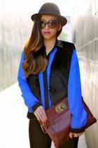 faux fur black BCBGeneration vest - black fedora H&M hat - Joes Jeans pants