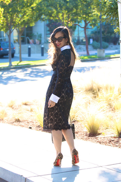 lace bcbg max azria dress - leopard Christian Louboutin pumps