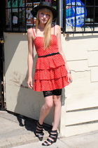 red H&M dress - Urban Outfitters hat - H&M shorts - Forever 21 shoes