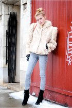 vintage coat - Urban Outfitters boots - gloves - Forever 21 jeans