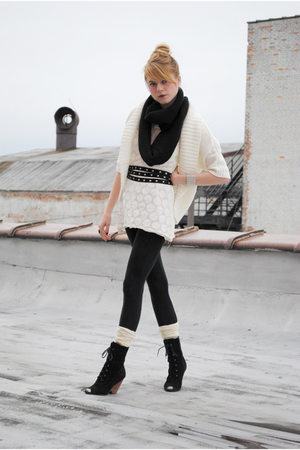 white modified H&M dress - Urban Outfitters boots - Forever 21 sweater