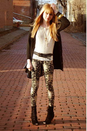 black Deena & Ozzy boots - Urban Outfitters leggings - Forever 21 belt - vintage
