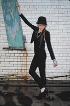 black Forever 21 blazer - H&M hat - Forever 21 pants