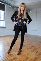 Forever 21 jeans - H&M boots - Forever 21 boots - Forever 21 blazer - thrifted b