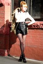 black Forever 21 shoes - Forever 21 shorts - vintage coat - pink H&M top - black
