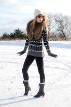 black Forever 21 boots - American Apparel leggings - gloves - H&M - Forever 21 s