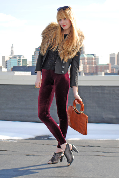 velvet Forever 21 leggings - Forever 21 shoes - H&M blazer - fur H&M
