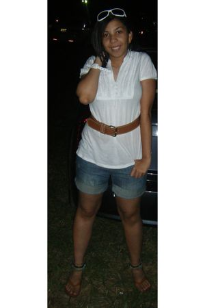 white f21 shirt - blue Limited shorts - brown thrifted belt - brown Coconuts sho