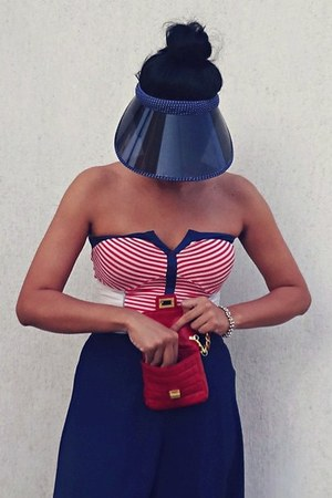 striped top top - hat - red purse purse - pants