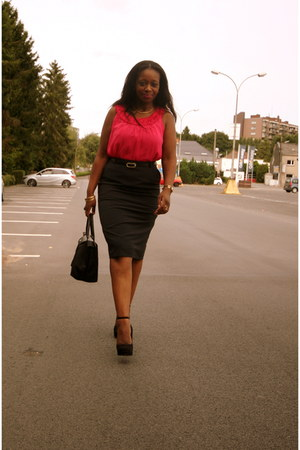 longchamp bag - Intown blouse - asos skirt - new look pumps
