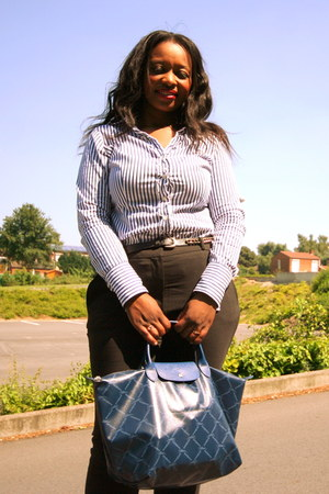 stripped Tommy Hilfiger shirt - longchamp bag - H&M pants - mai piu senza pumps