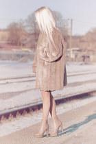 nude high-heel boots - nude fake fur thrifted coat