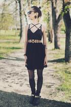 black asos boots - black strappy Nasty Gal dress