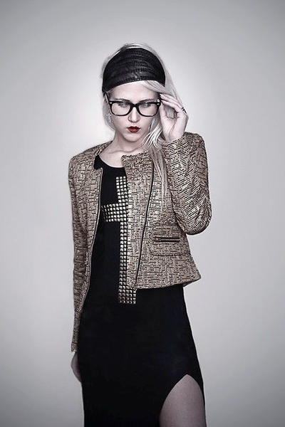black cross detail Love dress - gold Mango blazer - scarf