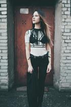 black lace zaful bra - off white cut out H&M top - black fringe zaful necklace