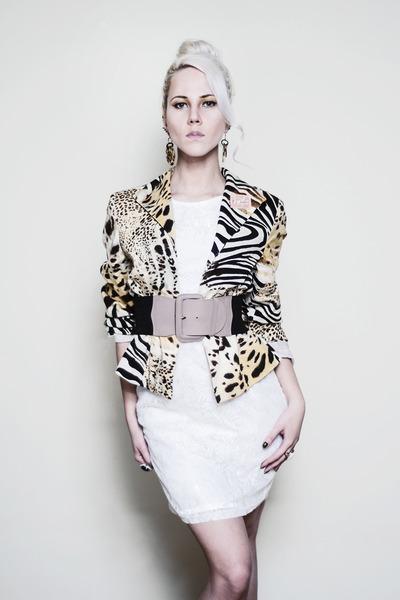 animal print Harve Benard blazer - white lace Kristines Collection dress