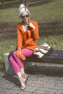 Nude-hogl-shoes-carrot-orange-thrift-store-blazer-lindex-sunglasses