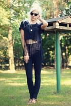 black high-waisted Seppälä jeans - black DIY t-shirt - black Zara sandals