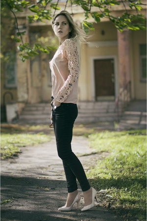 pale pink lace ZNU blouse