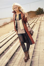 Beige-lace-h-m-dress-burnt-orange-leather-coat-zara-jacket