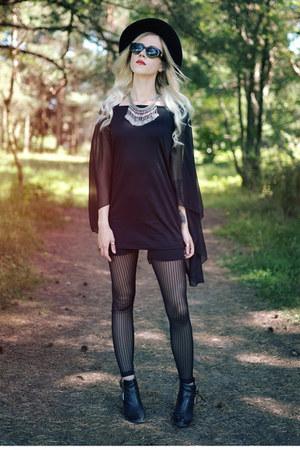 black chiffon Newdress dress - black striped Immuni leggings - asos sunglasses