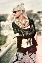 leather jacket New Yorker jacket - lindex leggings - Vila shorts - nümph t-shirt