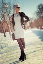 black leather jacket - white lace Kristines Collection dress