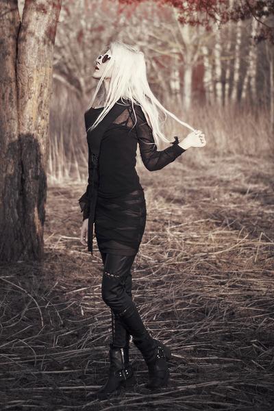 black Forever 21 dress - black faux leather H&M leggings