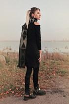 black asos boots - black winter Newdress dress - pieces scarf