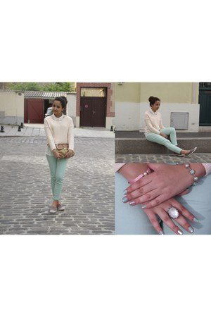 light pink H&M sweater - light blue Zara jeans - ivory Zara shirt