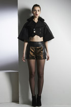 Changes Coat- Wool Quilted Leather Fur Crop Coat