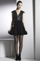 Young Americans Dress- Sequins Leather Velvet Ruffle Dress