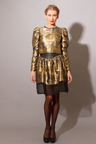 Silk Metallic Leather Skirt