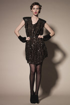 Silk and Sequin Dress with Leather Shoulders