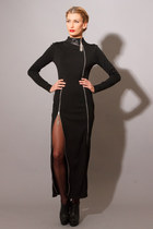 MAN ON A WIRE DRESS- Knit Leather Maxi Zipper Dress