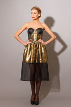 Gold Metallic Leather Bustier Dress