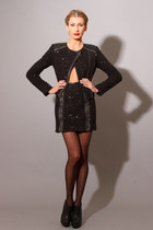 CONTROL SKIRT- Sequin and Leather Zipper Miniskirt
