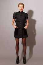 AUTOMATIC DRESS- Silk Velvet Button Front Collar Dress